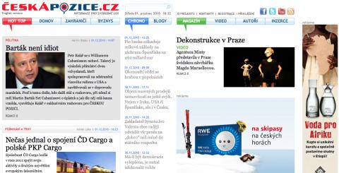 Podoba titulní strany webu Česká pozice při jeho startu (repro: ceskapozice.cz)