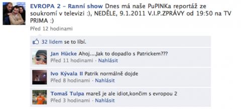 Příspěvek na Facebooku k Ranní show Evropy 2