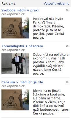 Česká pozice viditelně inzeruje jen na Facebooku. Repro: facebook.com