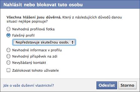 Nahlášení profilu falešné osoby. Repro: Facebook