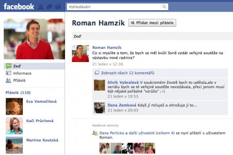 Falešný profil seriálové postavy Romana Hamzíka alias herce Jana Dolanského. Repro: Facebook