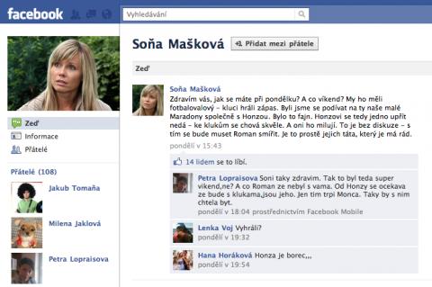 Falešný profil seriálové postavy Soni Maškové alias herečky Pavly Vitázkové. Repro: Facebook