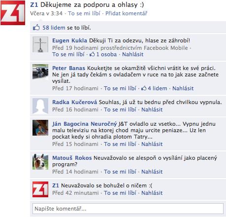 Reakce fanoušků Z1 na konec vysílání, na Facebooku. Repro: Facebook