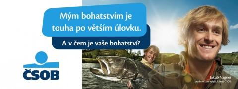 Plachta kampaně ČSOB s rybářem Jakubem Vágnerem. Repro: ČSOB