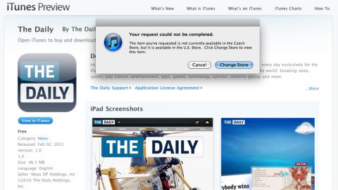 Čeští zájemci o The Daily mají zatím smůlu. Repro: App Store