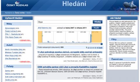 Rozhlas.cz: výpis výsledků hledání formou časové osy