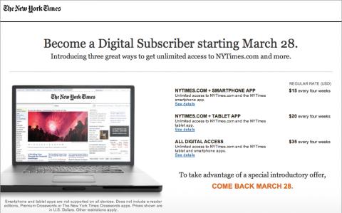 New York Times: Nabídka digitálního předplatného