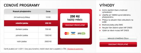 Ceník elektronického předplatného MF Dnes, tytéž ceny platí i pro LN. Repro: mfdnes.cz