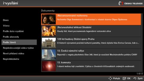 Takto má vypadat online archiv pořadů iVysílání v aplikaci pro televizory Samsung. Foto: ČT