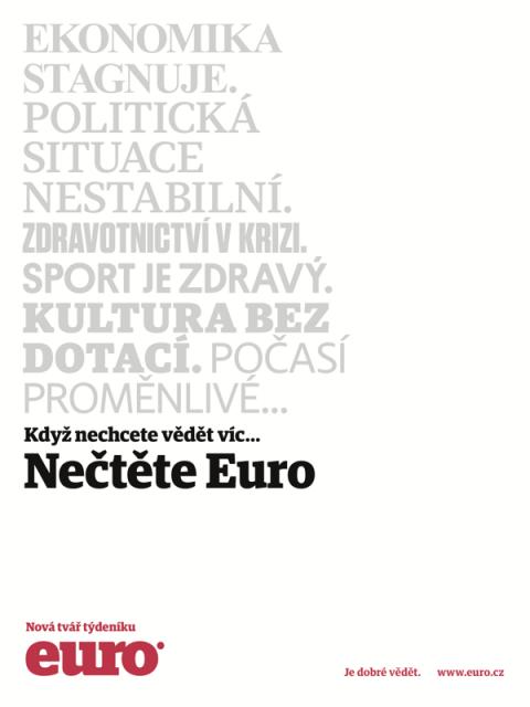 Inzerát na novou podobu časopisu Euro
