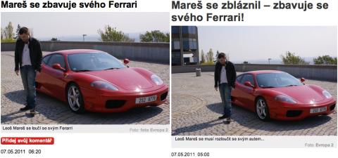 """Sobotní """"zpráva"""" webů Blesku (vlevo) a Aha! Repro: blesk.cz, ahaonline.cz"""