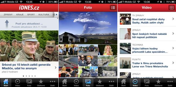 Aplikace zpravodajského iDnes.cz pro mobilní telefony iPhone