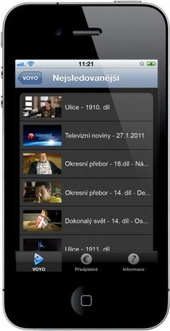 Videoarchiv Voyo na telefonech iPhone