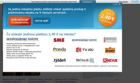 Každý web v systému Piano je osazen horní lištou, společnou pro všechny zpoplatněné služby