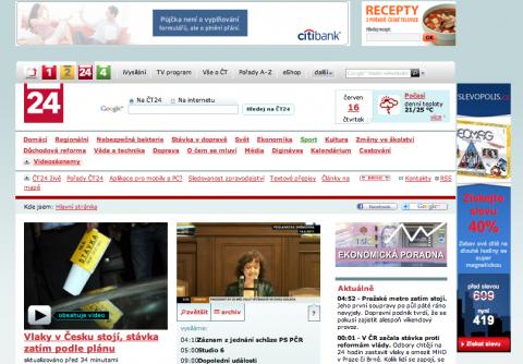 Reklamní formáty na zpravodajském webu ČT. Repro: ct24.cz