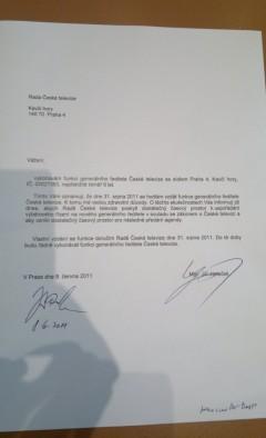 Oznámení Jiřího Janečka o rezignaci. Foto: Médiář.cz