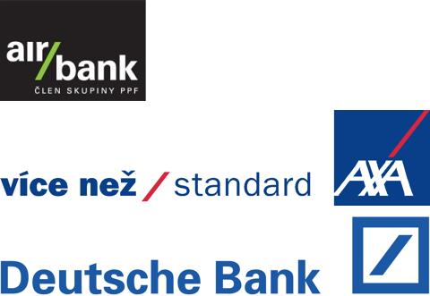 Loga s lomítkem: Air Bank, AXA, Deutsche Bank
