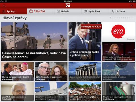 Aplikace zpravodajské ČT24 pro tablet iPad