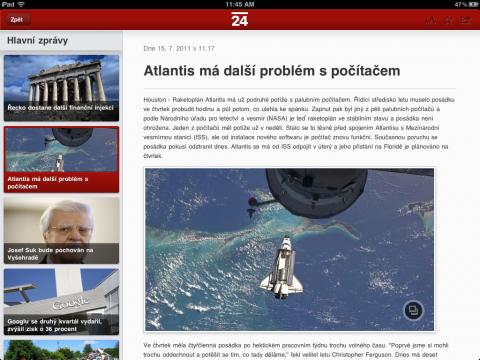 Aplikace zpravodajské ČT24 pro tablet iPad: výpis článku