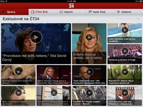 Exkluzivně na ČT24, jedna z rubrik aplikace. Repro: ČT