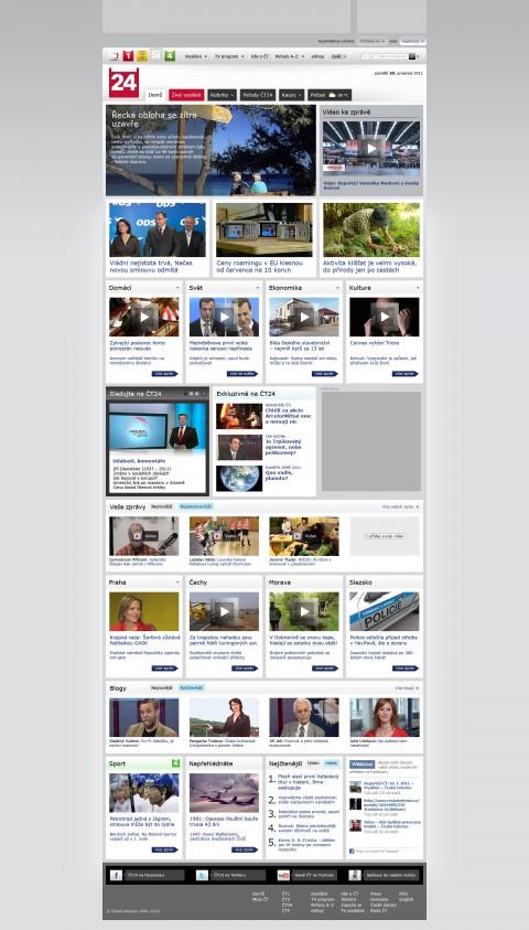 Nový web ČT24: Titulní strana