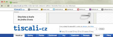 Reklama v adresním řádku na Tiscali.cz