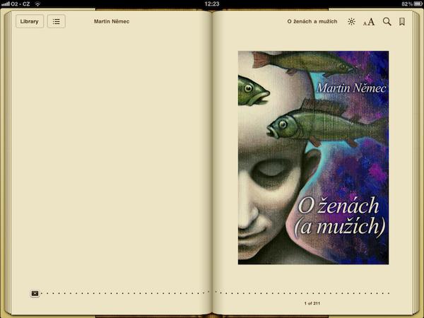 Obálka knihy v aplikaci iBooks na tabletu iPad