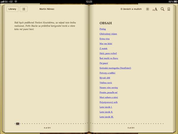 Obsah knihy v aplikaci iBooks na tabletu iPad