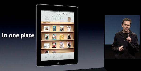 Manažer Applu Scott Forstall představuje aplikaci Newsstand. Repro: apple.com