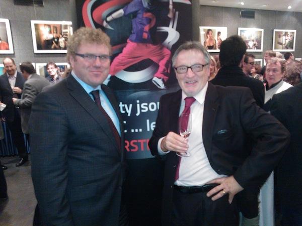 Veřejnoprávní dvojice Milan Fridrich (šéf programů ČT) a Peter Duhan (ředitel Českého rozhlasu) byla první highlight, co příchozí viděli