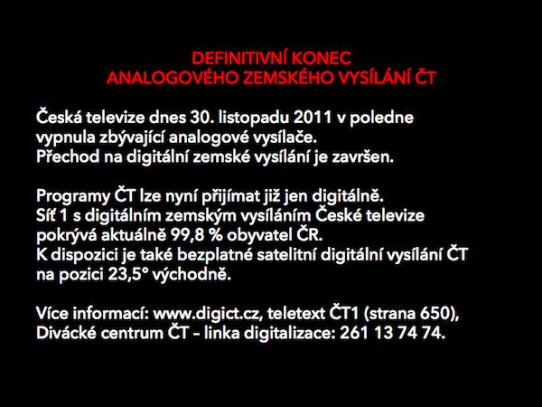 Konec analogového vysílání ČT. Repro: twitterový kanál České televize