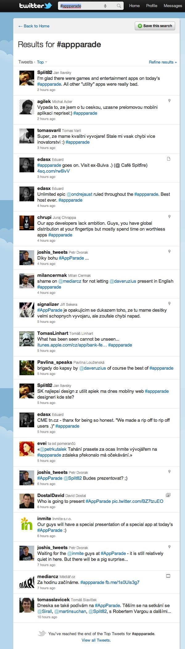 Ohlasy na pátou AppParade na Twitteru