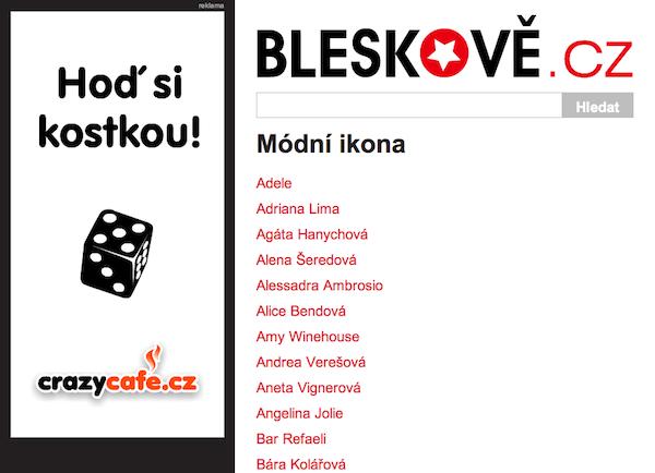 Bleskově.cz (ne)opustilo rubriky: stále využívá třídění