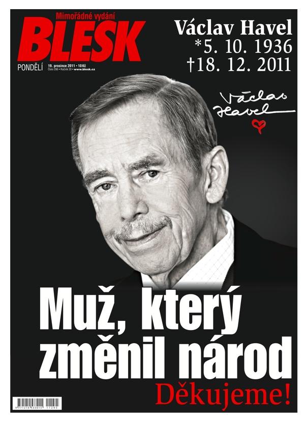 Titulní strana deníku Blesk, 19. prosince 2011