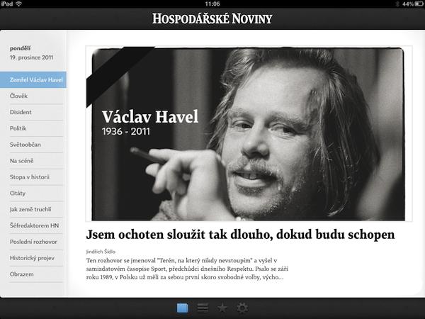 Titulní strana Hospodářských novin pro iPad, 19. prosince 2011