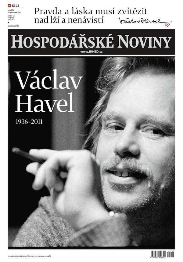 Titulní strana Hospodářských novin, 19. prosince 2011