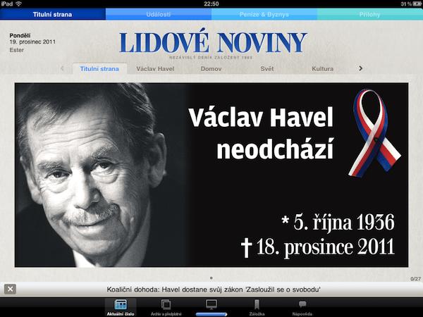 Titulní strana Lidových novin pro iPad, 19. prosince 2011