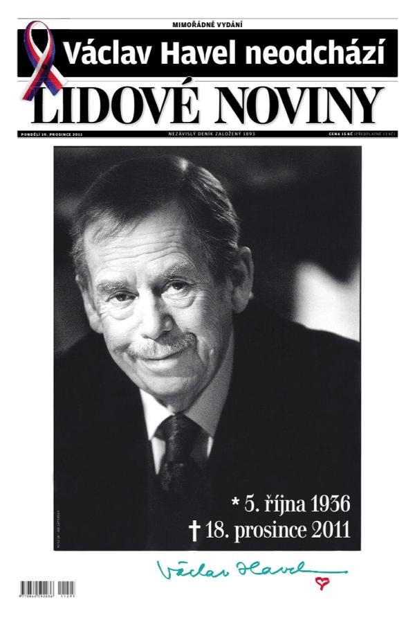 Titulní strana Lidových novin, 19. prosince 2011