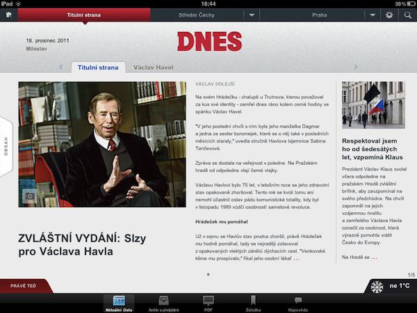 Večerník MF Dnes Slzy pro Havla, verze pro iPad