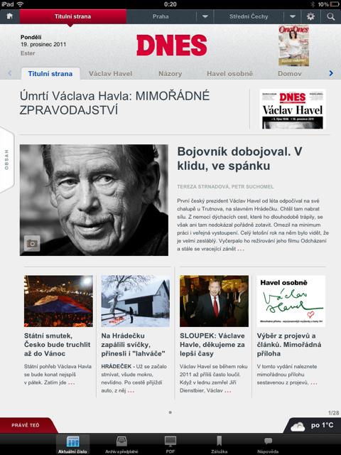 Titulní strana MF Dnes pro iPad, 19. prosince 2011
