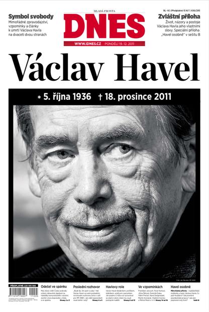 Titulní strana MF Dnes, 19. prosince 2011