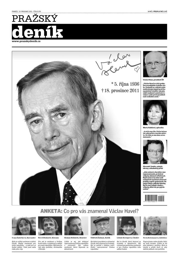 Titulní strana Pražského deníku, 19. prosince 2011