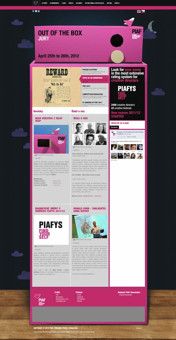 Web PIAF, noční verze