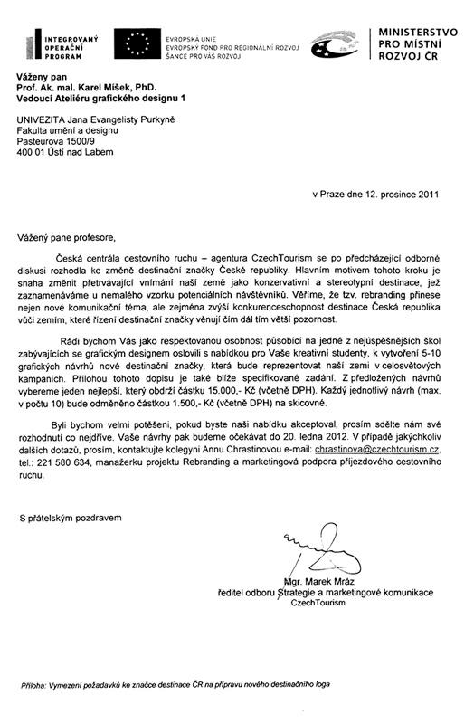 Dopis ze dne 12. 12. 2011 adresovaný doc. ak. mal. Karlu Míškovi, Ph.D.