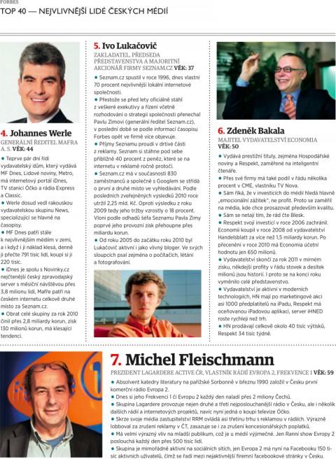 Forbes: Werle, Lukačovič, Bakala, Fleischmann