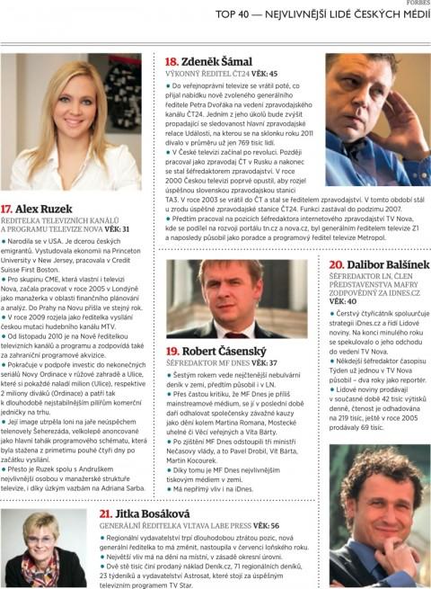 Forbes: Ruzek, Šámal, Čásenský, Balšínek, Bosáková
