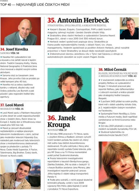 Forbes: Havelka, Herbeck, Kroupa, Mareš, Čermák