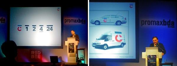 Ukázky nového vizuálního stylu na konferenci Promax 2009. Repro: designportal.cz