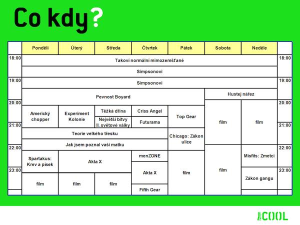 Programové schéma Primy Cool v roce 2012