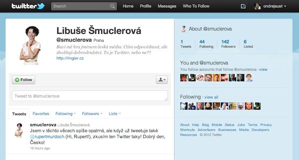 Falešný účet Libuše Šmuclerové na Twitteru